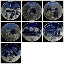 "PORSGRUND Norway Decorative Collector Christmas JULEN 7"" PLATE Each Blue White"