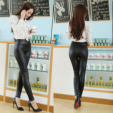 Women's High Waist Imitation Leather Wet Look Pencil Leggings Sexy Pants Winter