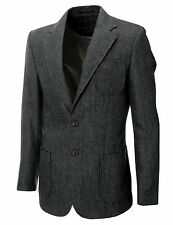 MEN HERRINGBON​E WOOL BLAZER JACKET WITH ELBOW PATCHES sz S,M,L,XL BJ902GR