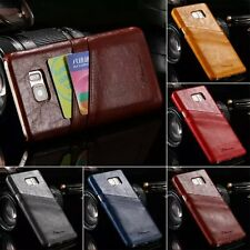 Luxury Retro Ultra Thin PU Leather Card Back Skin Case Cover For Samsung Galaxy
