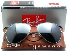 Ray Ban Aviator Silver Mirror Lens RB3025 W3275 Flash Sunglasses RB 55 mm Small