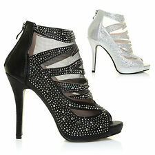 CAGED SHIMMER HIGH HEELS LADIES SANDALS WOMENS STRAPPY DIAMANTE ANKLE BOOTS