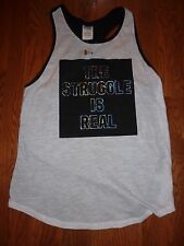 """VICTORIAS SECRET PINK GRAPHIC NEW 2015""""THE STRUGGLE IS REAL"""" TANKTOP TEE NWT"""