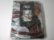"NEW NIP Wisconsin Badgers Tapestry Throw Blanket 48"" x 60"" NCAA Football Afghan"