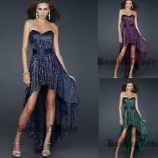 New Sequins Hi-Lo Prom Dresses Cocktail Evening Party Bridesmaid Homecoming Gown