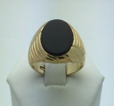 14K Yellow Gold Men's Oval Black Onyx Ring Available in Sizes 7-13 Jewelry