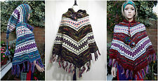 Gringo Fair-Trade Hand Knitted Wool Pixie Hooded Poncho Freesize  Red Blue Black