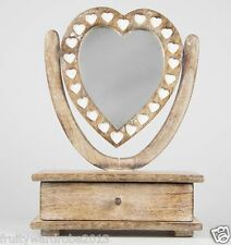 Shabby Chic Wooden Petit Mirror Heart Dressing Table With Drawer