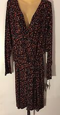 Ava & Viv Wrap Dress,Size 2X,4X, Multi-Color,Plus,Long Sleeve,Geometric Print
