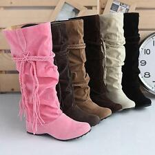 Ladies New Winter Fashion Tassels Hidden Wedge Slouchy Mid-calf Boots Shoes Size