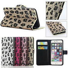 Bling Diamond Sexy Leopard Zebra Flip Wallet Stand Case Cover for iPhone 6S Plus