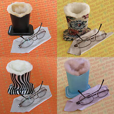2 Design Plush Eyeglass Stand Holder with Cleaning Cloth (Pick 2) (Mr. Sales)