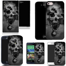 silicone gel  case cover for majority Mobile phones - black holed skull silicone