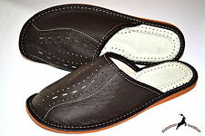 Mens Real Grain Leather Dark Brown Slippers Shoes Sandals Handmade  Comfortable