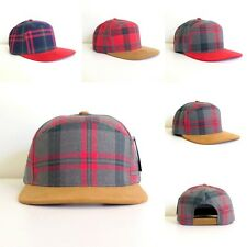 New Plaid Baseball Cap Adjustable Snapback Hat Grey Red Navy Christmas Preppy
