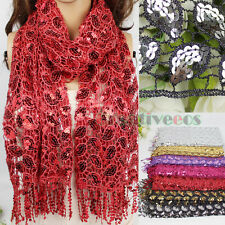 Fashion Women Crochet Hollow Out Mesh Shiny Sequins Leaves Tassel Long Scarf New