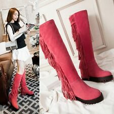 F&P Women's SNOW WINTER KNEE HIGH BOOTS PLATFORM WEDGES TASSEL LONG BOOTS SIZE