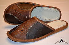 Mens Thick Full Grain Leather Slippers Shoes Sandals Handmade In Poland All Size