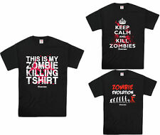 Mens 100% Cotton Zombie Killing Clothing Funny Graphic T Shirts Tees