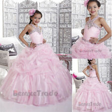 New Pink Beaded Flower Girls Dresses Christmas Wedding Party Kid Pageant Gown