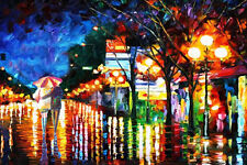 100% Handmade modern abstract Night Landscape palette knife painting