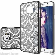Transparent Vintage Damask Pattern Black Hard Cover Shell Case For Galaxy Note 5