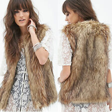 Hot Women's Winter Warm Faux Fur Vest Sleeveless Jacket Coat Outerwear Overcoat
