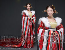 China Tang Kimono Gown Han Fu Wedding Full Dress Flower Silk Red/Purple/Blue