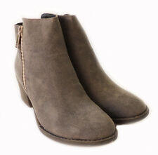 NEW WOMEN*RENEEZE*COMFY STACKED CHUNKY HEEL SIDE ZIPPER ANKLE BOOTIE PAMA01/GREY