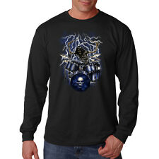 Skeleton Skull Drummer Rock & Roll Music Lightning Long Sleeve T-Shirt Tee