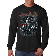Ride Or Die Sexy Girl Motorcycle Biker Skull Rider Long Sleeve T-Shirt Tee