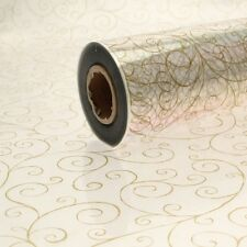 100 METER ROLL OF CELLEOPHANE - GOLD SCROLL PATTERN 80CM WIDTH