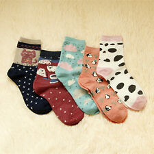 5 Pairs Lot Women's Cute Multi-color Animal Pattern Fashion New Cotton Socks