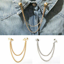 Stud Shirts Collar Neck Tip Brooch Pin Chain Tassels Necklace Punk Gothic Ladies