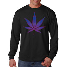 Trippy Hippie Purple Pot Leaf Marijuana Weed OG Kush 420 Long Sleeve T-Shirt Tee