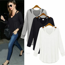Womens Lady Cotton Long Sleeve V Neck Loose Solid Casual T-Shirt Tee Tops Blouse