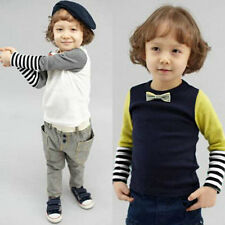 Toddler Baby Boys Kids Bowties Long Sleeve Cotton Striped Tee Tops T-shirts Soft
