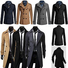 Men Warm Winter Double Breasted Trench Coats Long Jacket Peacoat Overcoat Tops