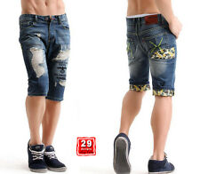 Mens Jeans Shorts Denim Casual Shorts Patched Ripped Distressed Destroyed Washed