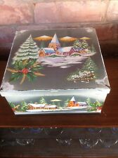Vintage Tin Huntley & Palmers Biscuit Cake Christmas Winter Night