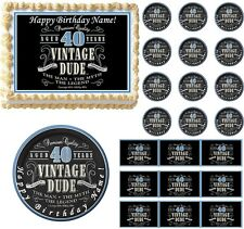 VINTAGE DUDE 40 Party Edible Cake Topper Image Frosting Sheet Cake Decoration