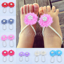 10 Colors Infant Newborn Barefoot Ring Sandals Shoes Rose Flower Pearl Feet Toes