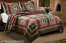 Log Cabin Patchwork 3-Pc King Queen/Full Tw Cotton Quilt Reversible Set or Throw