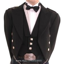 "Prince Charlie Kilt Jacket With Waistcoat/Vest 100% Pure Wool - Sizes 36""- 54"""
