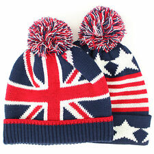 UK USA Hat Flag Union Jack Stars Childrens Red Blue White Beanie Bobble Pom
