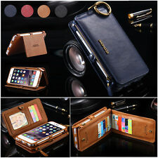 Genuine Leather Removable Wallet Flip Card Case Cover for Apple iPhone/Samsung