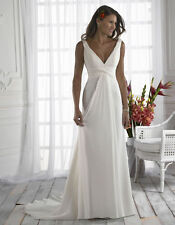 2015 New White and ivory Chiffon Beach Wedding Dress Size 4-6-8-10-12-14-16