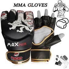 MMA Grappling Gloves Cage UFC Fight Rex Leather Kick Boxing Punch Gloves Size XL