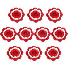 Hand Knitted Yarn Flower Head Brooch Corsage DIY Craft 4 Colors 2 Sizes
