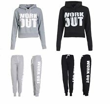 Womens Work Out Fleece Track Suit Jogging Bottoms Ladies Top Jog Track Suits SML